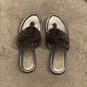 Silver medallion sandals!